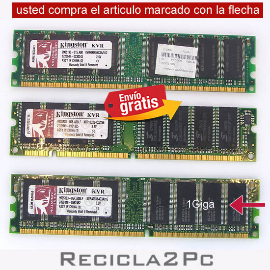 1 GIGA MEMORIA RAM DDR KINGSTON