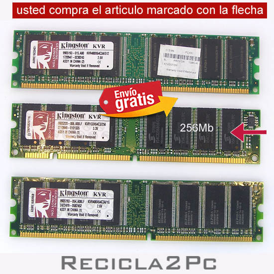 256 MEGAS MEMORIA RAM SDR KINGSTON