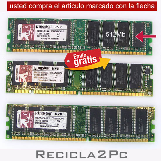 512 MEGAS MEMORIA RAM DDR KINGSTON