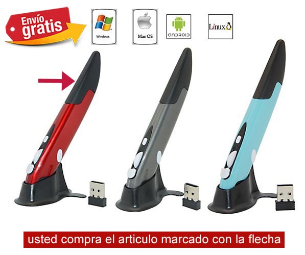 RATON USB INALAMBRICO VERTICAL COLOR ROJO