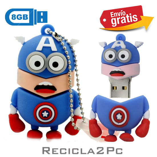 USB MEMORIA FLASH PENDRIVE CAPITAN AMERICA MINIONS 8GB