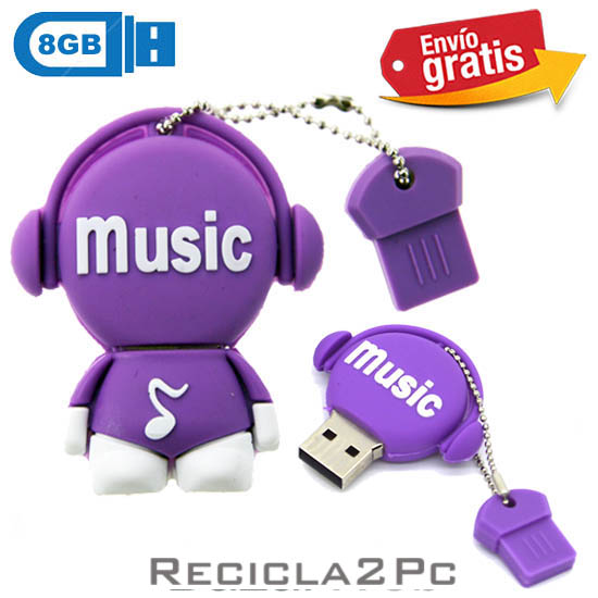 USB MEMORIA FLASH PENDRIVE DISC JOCKEY MORADO 8GB