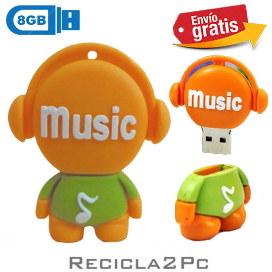 USB MEMORIA FLASH PENDRIVE DISC JOCKEY NARANJA 8GB