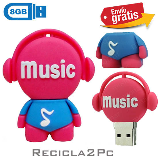 USB MEMORIA FLASH PENDRIVE DISC JOCKEY ROSA 8GB