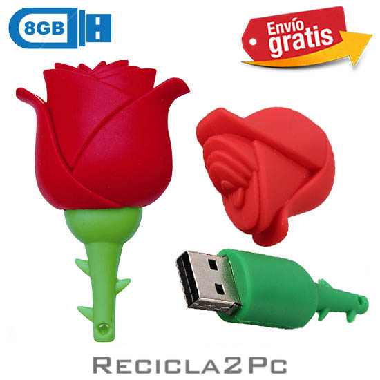 USB MEMORIA FLASH PENDRIVE FLOR ROSA ROJA 8GB