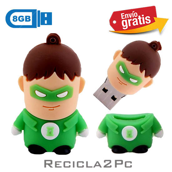 USB MEMORIA FLASH PENDRIVE LINTERNA VERDE 8GB