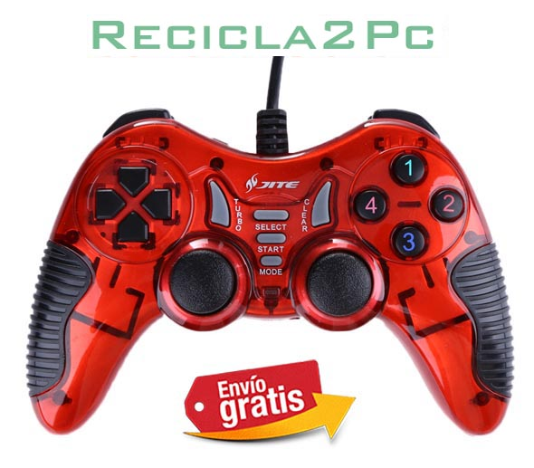 GAMEPAD JOYSTICK USB PC WINDOWS ANDROID JITE ROJO