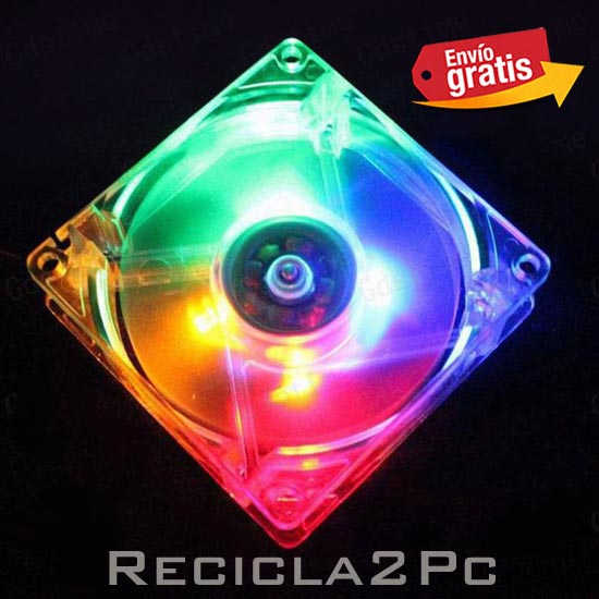 VENTILADOR 80MM LED COLORES Y MOTOR BRUSHLESS
